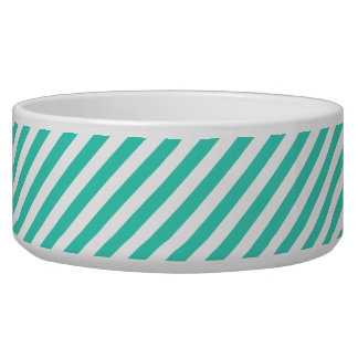 Teal and White Diagonal Stripes Pattern Bowl