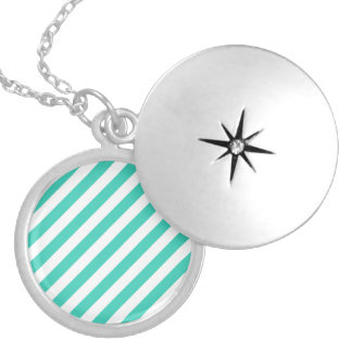 Teal and White Diagonal Stripes Pattern Silver Plated Necklace