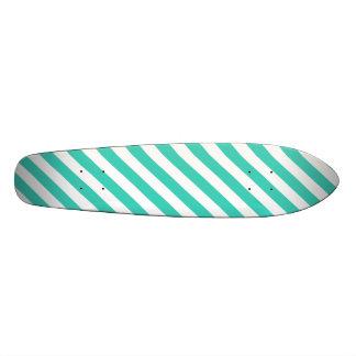 Teal and White Diagonal Stripes Pattern Skateboard Deck