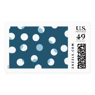 Teal and white dot pattern. Green - blue. Postage Stamp