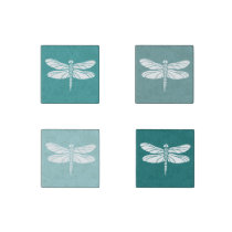 Teal and White Dragonflies Stone Magnet