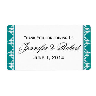 Teal and White Filigree Border Water Bottle Label Shipping Label