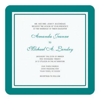 Teal and White Fleur de Lis Damask Formal Wedding Card