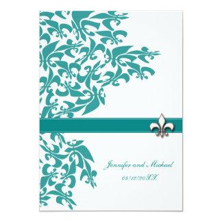 Teal and White Fleur de Lis Design Wedding Invite