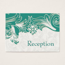 Teal and White Floral Spring Wedding Design Business Card