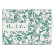 Teal and White Floral Spring Wedding Design Card