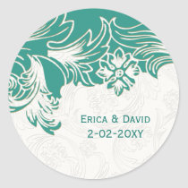 Teal and White Floral Spring Wedding Design Classic Round Sticker