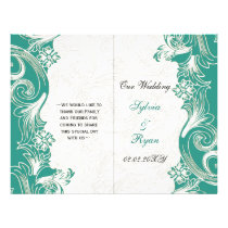 Teal and White Floral Spring Wedding Design Flyer