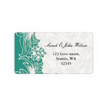 Teal and White Floral Spring Wedding Design Label