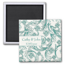 Teal and White Floral Spring Wedding Design Magnet