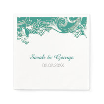 Teal and White Floral Spring Wedding Design Paper Napkin