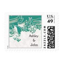 Teal and White Floral Spring Wedding Design Postage