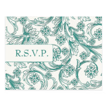 Teal and White Floral Spring Wedding Design Postcard
