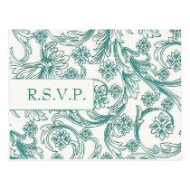 Teal and White Floral Spring Wedding Design Postcard