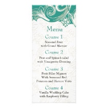 Teal and White Floral Spring Wedding Design Rack Card