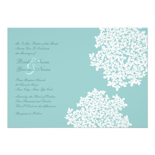 Teal and white floral wedding invitations 5 quot x 7 quot invitation card