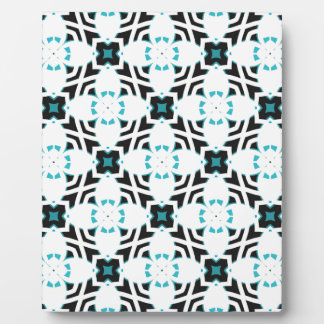Teal and white flower design pattern plaque