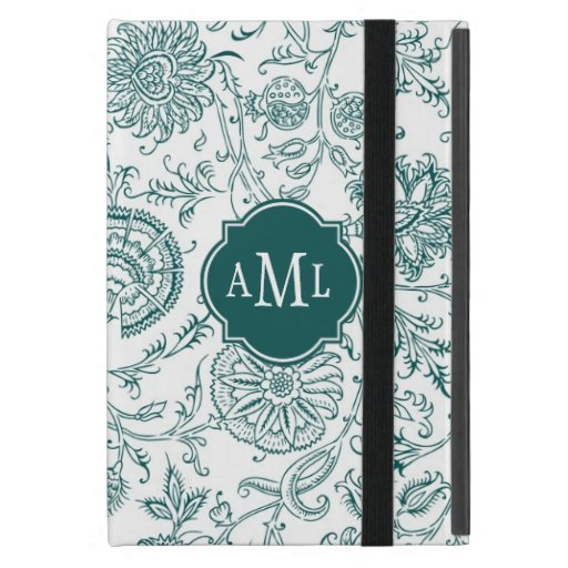 Teal and White Flower Pattern Monogram iPad Mini Case