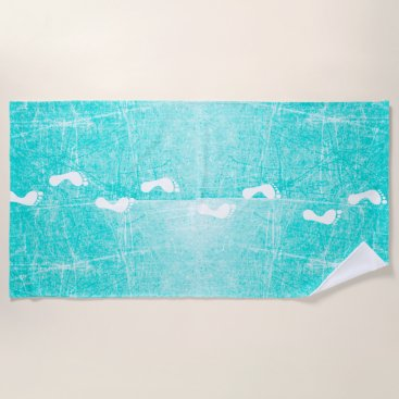 Teal and White Footprints Beach Towel