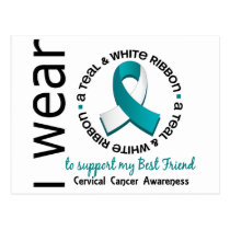 Teal And White For Best Friend 17 Cervical Cancer Postcard