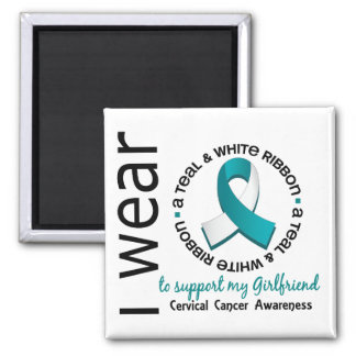 Teal And White For Girlfriend 17 Cervical Cancer Fridge Magnets