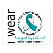 Teal And White For Girlfriend 17 Cervical Cancer Postcard