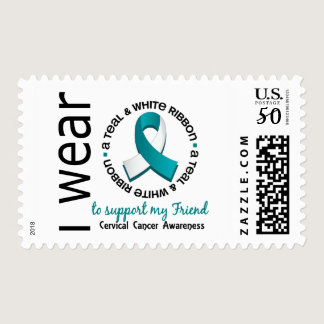 Teal And White For My Friend 17 Cervical Cancer Postage