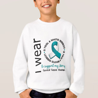 Teal And White For My Mommy 17 Cervical Cancer Sweatshirt