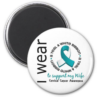 Teal And White For My Wife 17 Cervical Cancer Magnet
