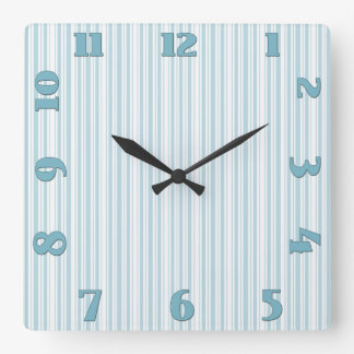 Teal and White French Cotton Ticking Square Wall Clock