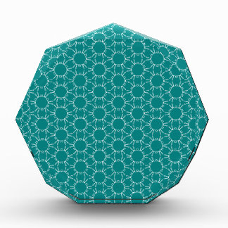 Teal and White Geometric Doodle Pattern Acrylic Award