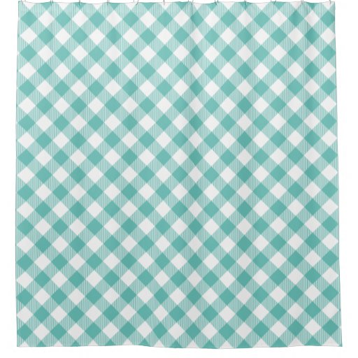 Teal And White Gingham Plaid Shower Curtain Zazzle