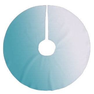 Teal and White Gradient Brushed Polyester Tree Skirt