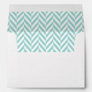 Teal and White Herringbone Lined Envelopes