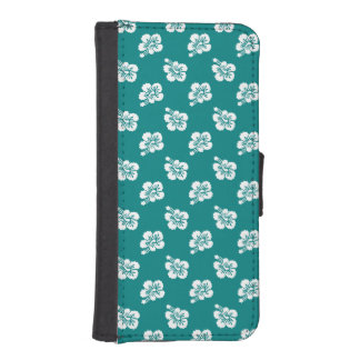 Teal and White Hibiscus Pattern iPhone 5 Wallet Case