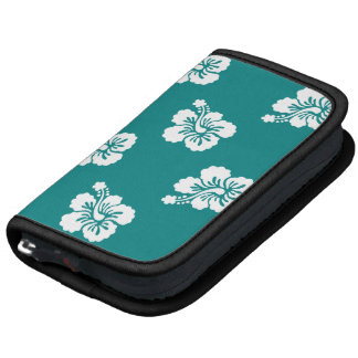 Teal and White Hibiscus Pattern Organizers