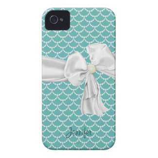 Teal and White iPhone 4 Case