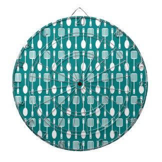 Teal and White Kitchen Cooking Utensils Pattern Dartboards