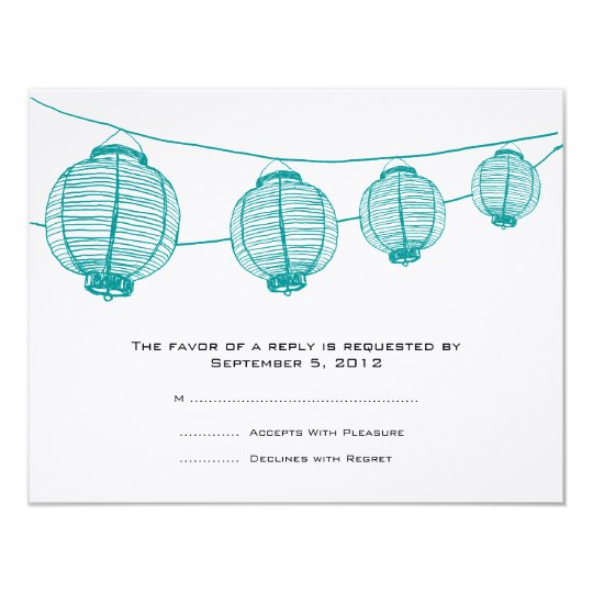 Teal and White Lanterns Wedding Invitation RSVP