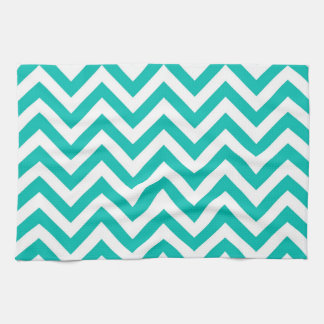 Teal and White Large Chevron ZigZag Pattern Hand Towels. Teal Kitchen Towels   Zazzle