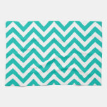 Teal and White Large Chevron ZigZag Pattern Hand Towels