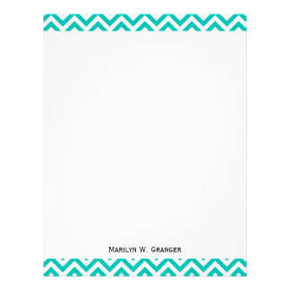 Teal and White Large Chevron ZigZag Pattern Letterhead