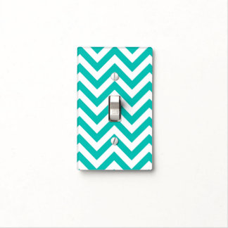 Teal and White Large Chevron ZigZag Pattern Light Switch Cover
