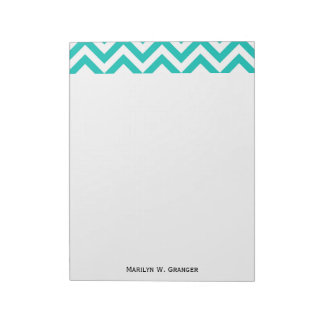Teal and White Large Chevron ZigZag Pattern Notepads