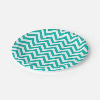 Teal and White Large Chevron ZigZag Pattern Paper Plate