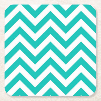 Teal and White Large Chevron ZigZag Pattern Square Paper Coaster