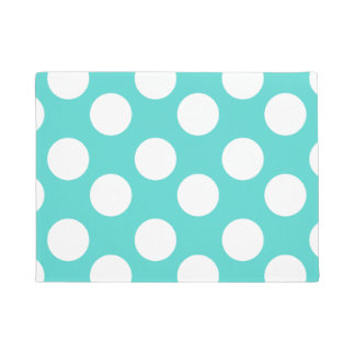 Teal and White Large Polka Dot Doormat