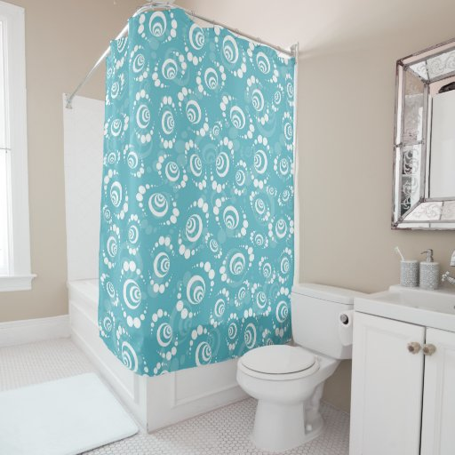 Teal And White Modern Retro Shower Curtain