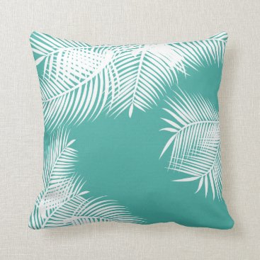 Beach Themed Teal and White Palm Leaves Throw Pillow