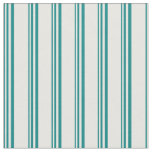[ Thumbnail: Teal and White Pattern of Stripes Fabric ]